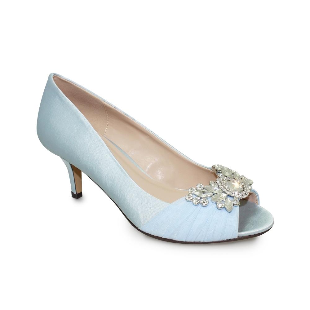 lunar allure peep toe shoe diamante trim low heel with bag