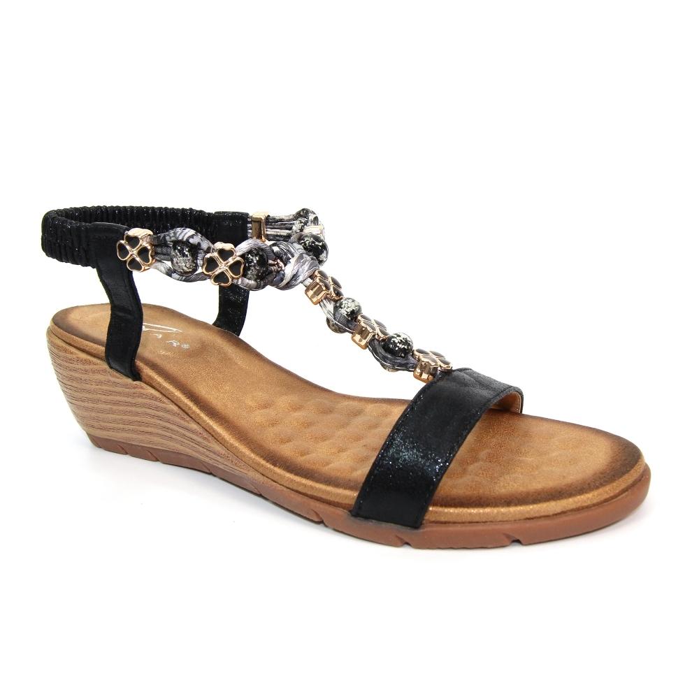ladies beaded wedge sandals