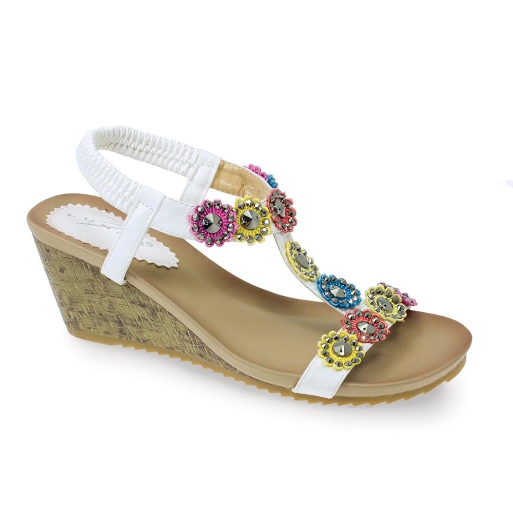 01737eb78c8ee4 Lunar Anya Floral Wedge Sandal