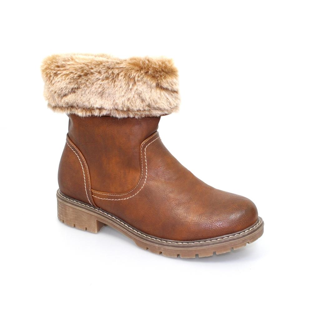 b6034911fc4 Lunar Artie Fold Ankle Boot | Fur Trim Boots | Ladies Boots