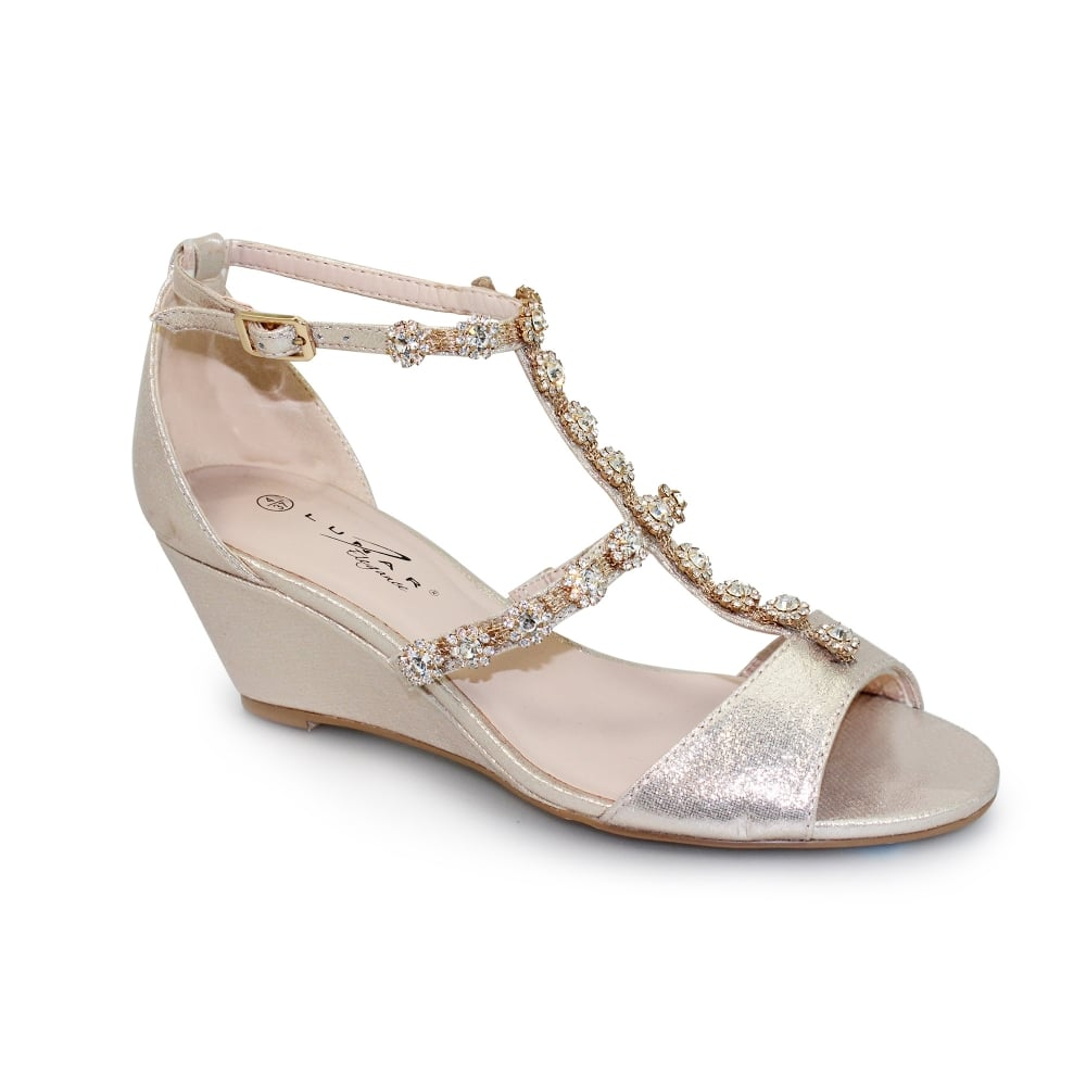 4e0bd2c689538b Lunar Cassidy Jewelled Wedge - Shoes from Lunar Shoes UK