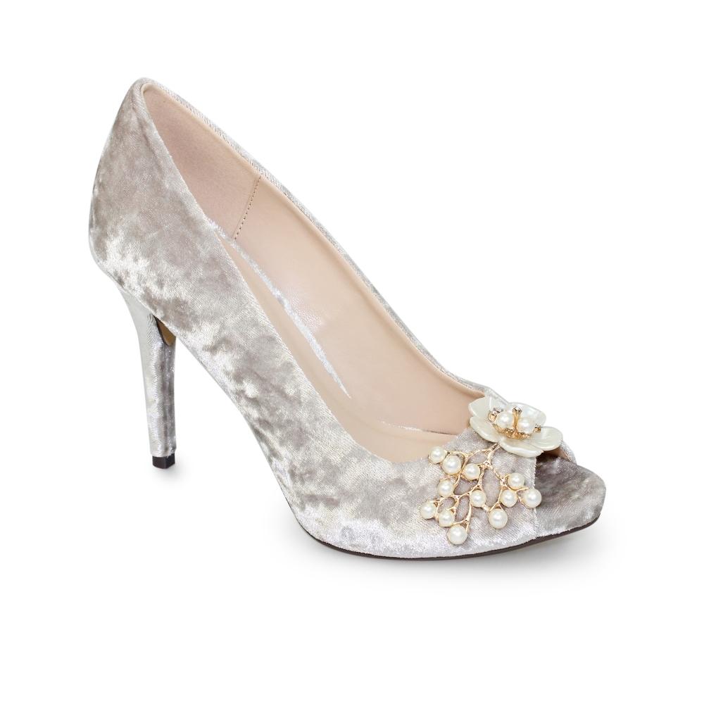 4917a8d5c87 Ginny Velvet Peep Toe Heel - Ladies Shoes from Lunar Shoes UK