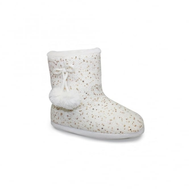 Lunar Glow Sequined Bootee Slipper