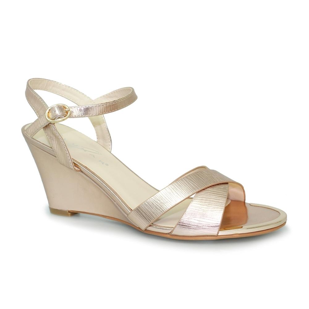 Helena Metallic Wedge Sandal