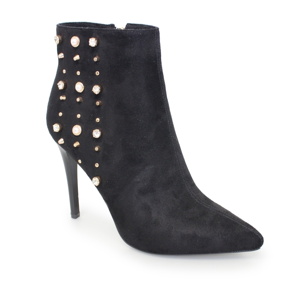 450e9688f Lunar Livvy Studded Heeled Boots | Ladies Ankle Boots | Faux Suede