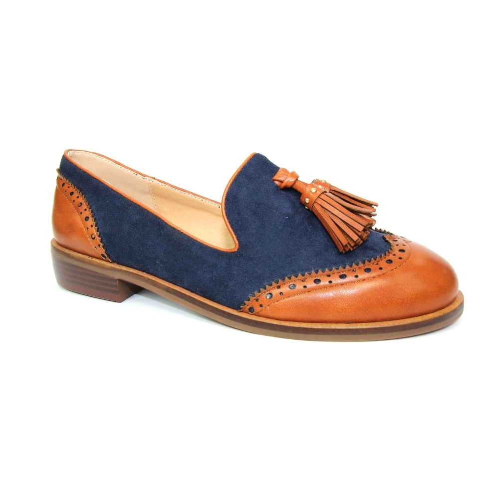 Logan Two Tone Loafer - Ladies Shoes