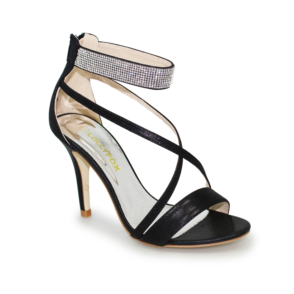 fc1669e7b8c Lollyfox Mia Diamante Band Ankle Strap Heel - Ladies Shoes from ...