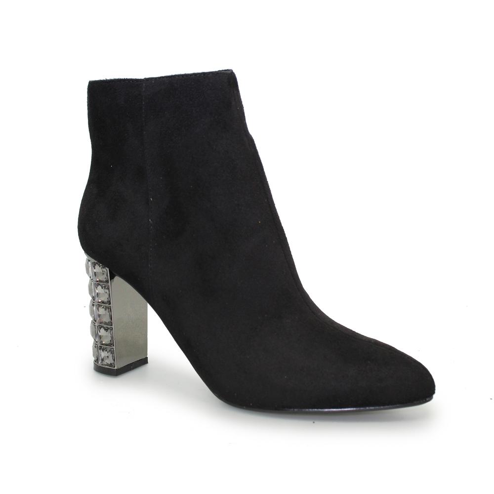 jewelled heel high heel ankle boots